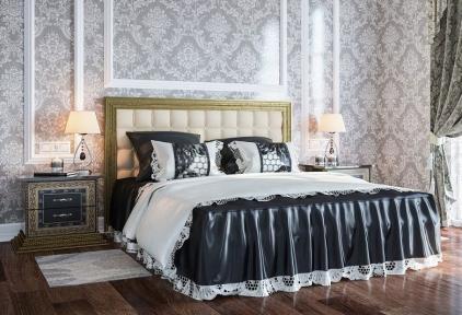 Ліжко з м'якою спинкою Софія Люкс